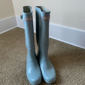 Baby Blue Glossy Tall Hunter Boots